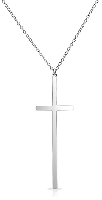 3228924d8 Basic Long Latin Cross Pendant Necklace Flat Thin Religious Polished 925  Sterling Silver 16 Inch Chain