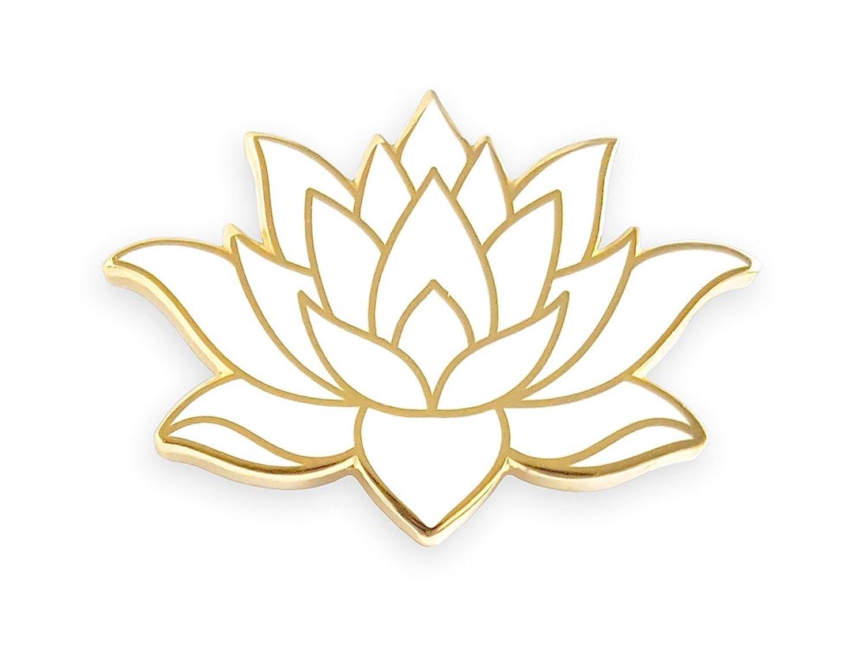 Amazon Pinsanity White Lotus Flower Enamel Lapel Pin Clothing