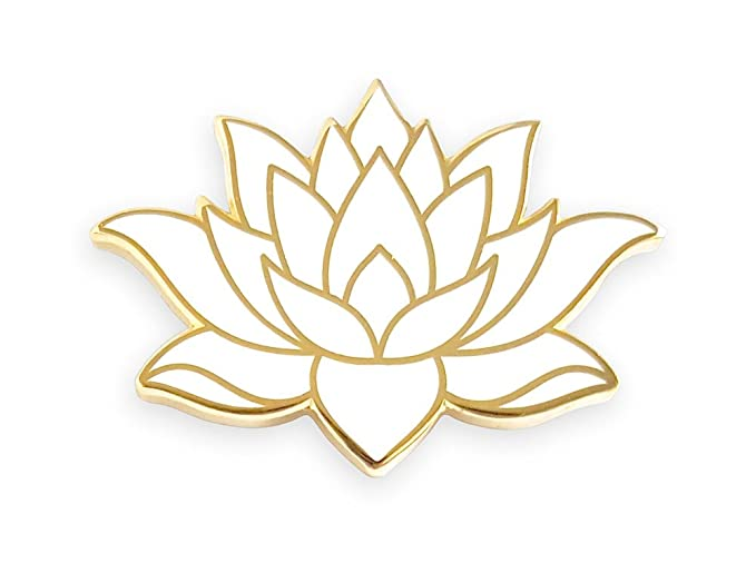 Amazoncom Pinsanity White Lotus Flower Enamel Lapel Pin Clothing
