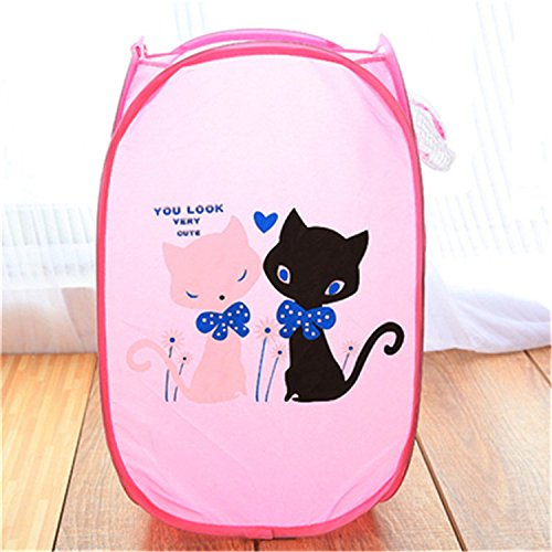 Storage Pop Chest Up (Cartoon Theme Super Cute Foldable Pop Up Hamper, Collapsible ventilation Laundry Basket or Toy Chest for Storage, Portable Mesh Laundry Hamper (Pink Cats))