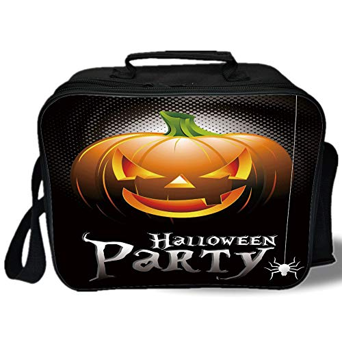 Halloween 3D Print Insulated Lunch Bag,Halloween Party Theme Scary Pumpkin on Abstract Modern Backdrop Spider Decorative,for Work/School/Picnic,Silver Black Orange -