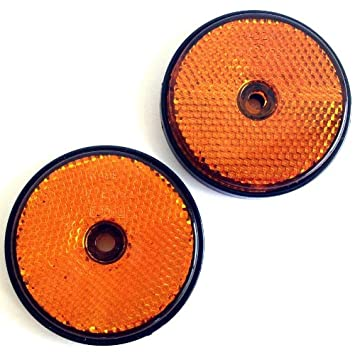 2x Seitenrückstrahler orange rund 60mm schraubbar Seitenreflektor Anhänger KFZ