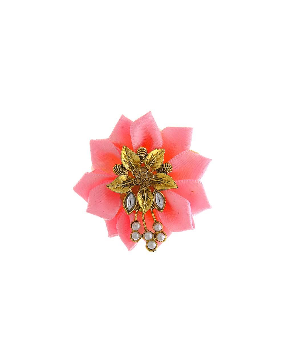 Anuradha Art Baby Pink Colour Styled with Flower Wonderful Designer Sari/Saree Pin for Women/Girls