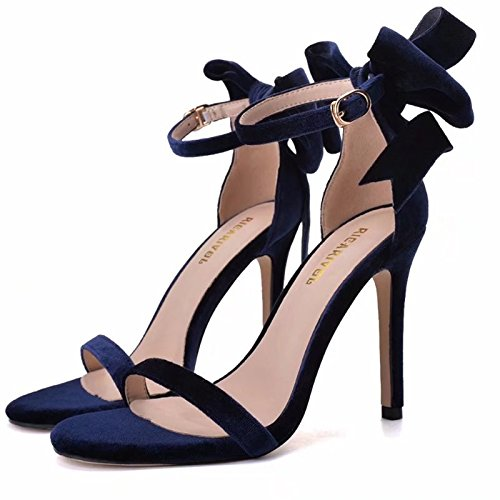 High High A Of Butterfly Black Heeled Pair Silk Goddess A Heels Toes ZHANGYUSEN Of And 6CM Sandals Shoes Pair Z8nqd