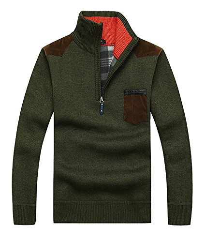 kaured Men's Casual Solid Casual Pullover Regular Fit Pullovers Army Green36 (Hampshire New Lace And Leather)