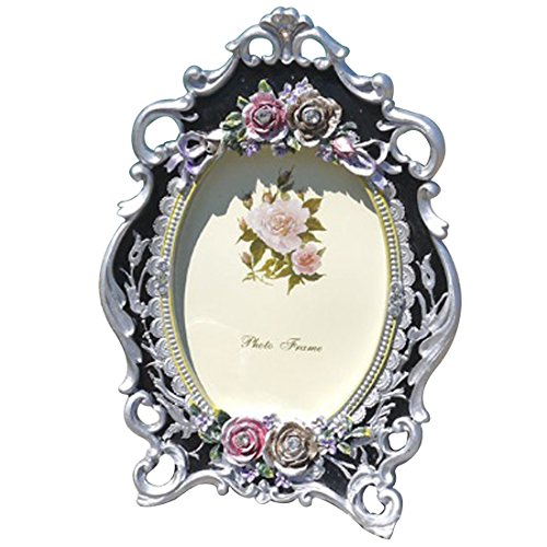 Aimeart Resin Picture Frame, 5 x 7 Black with Silver Rim and Carved Painted Flowers