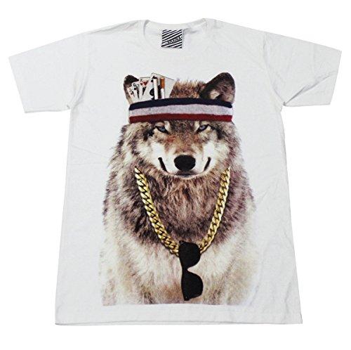 ARAINA dog fox wolf party skate street wear T-Shirt White / AR113 size (Funk Band Costume)