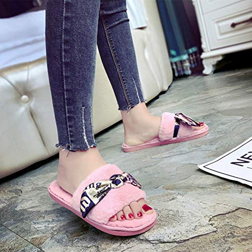 Furry Warm Lovely Bottom Soft Invierno gray m Comfortable Mujer Shoe Pink De Zapatillas ax8qwtWfR