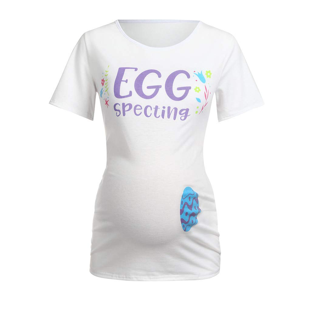 Dsood Print Tops for Women Plus Size,Women Maternity Short Sleeve Easter Letter Print Tops T-Shirt Pregnancy Clothes,Women's Clothing,0.877032662437538,Black