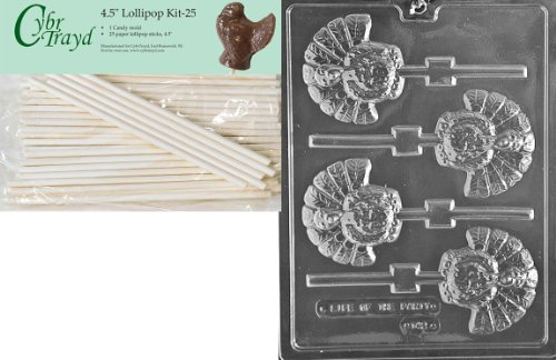 Cybrtrayd 45St25-T042 Turkey Lolly Thanksgiving Chocolate Candy Mold with 25-Pack 4.5-Inch Lollipop Sticks ()