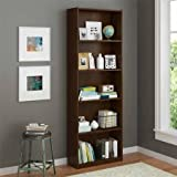 5-Shelf Decorative Wood Bookcase (Northfield Alder Finish)