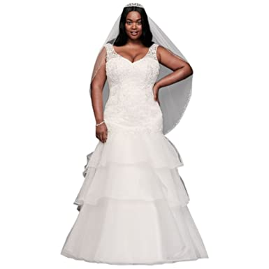 Davids Bridal Lace Tiered Tulle Plus Size Wedding Dress Style