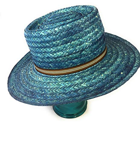 Gab & Koko Unisex Handmade Wide Brim Natural Abaca Summer Hat in Teal Blue