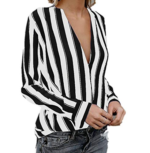 Profond AIMEE7 Femme Rayures Longues Casual Manches Tops Col Noir V Chemisier Blouse Chic apwgrxqaP