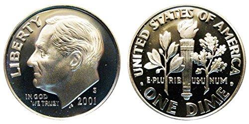 2001 S Roosevelt Proof Silver Dime 10c DCAM US Mint ()