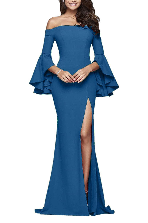 bluee Sweet Bridal Women's Butterfly Sleeves Evening Gown Side Slit Long Prom Dress