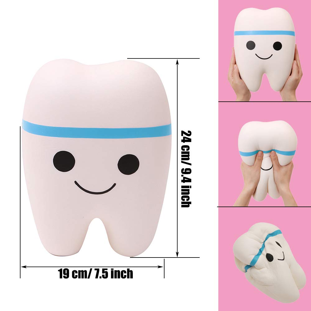 Anboor Squishies Jumbo Teeth Slow Rising Kawaii Scented Giant Tooth Toy for Play,1 Pcs Color Random