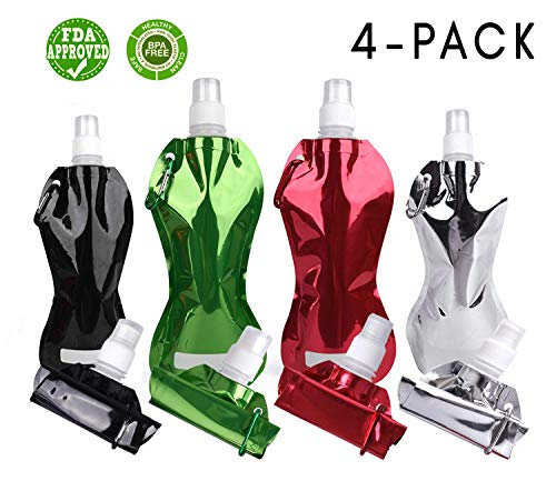 Black Hills Outpost Collapsible Water Bottle | BPA FREE | Perfect For Hiking, Camping, Travel & Sports | Leak Proof, Dishwasher Safe, FDA Approved | (4-PACK)  16 oz - Black, Green, Red, Silver