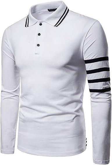 OPAKY Camisa de Manga Larga para Hombres de Negocios con Botones a Rayas y Blusa Superior Camisa Manga Larga para Hombre Polo para Hombre Camiseta Polo Talla Grande para Hombre: Amazon.es: Ropa