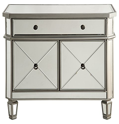 Silver / Clear 32in. Wide 2 Door Chest from the Danville Collection by Elegant Decor