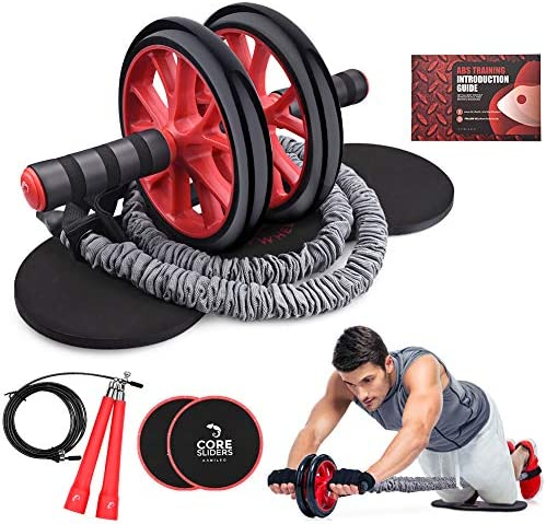 Kamileo Ab Roller Wheel, 5-in-1 Ab Roller Kit with Knee Pad, Resistance Bands, Jump Rope, Core Sliders, Perfect Home Gym Equipment for Abdominal Exercise Workout Guide Included