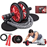 Kamileo Ab Roller Wheel, 5-in-1 Ab Roller Kit with Knee Pad, Resistance Bands, Jump Rope, Core Sliders, Perfect Home Gym Equipment for Abdominal Exercise (Workout Guide Included)