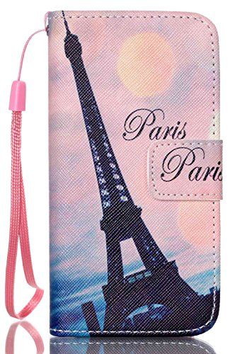 iPhone SE Case,iPhone 5S Case,iPhone 5 Case,AIYZE PU Leather Color Print with Wallet Function Stand Short Lanyard Credit Card Holder Magnetic Snap Front and Back Folio Cover Black Paris Eiffel Tower
