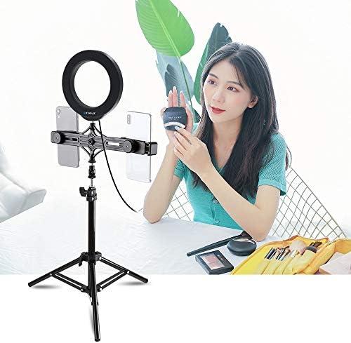 6.2 inch LED Ring Vlogging Video Light Kits Teng AYSMG 70cm Tripod Mount Live Broadcast Dual Phone Bracket