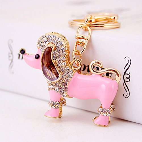 Jzcky Shzrp Pretty Poodle Crystal Rhinestone Keychain Key Chain Sparkling Key Ring Charm Purse Pendant Handbag Bag Decoration Holiday Gift(Pink)