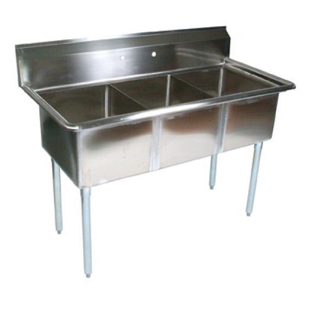 John Boos E Series Stainless Steel Sink, 12'' Deep Bowl, 3 Compartment, 53'' Length x 25-1/2'' Width by John Boos