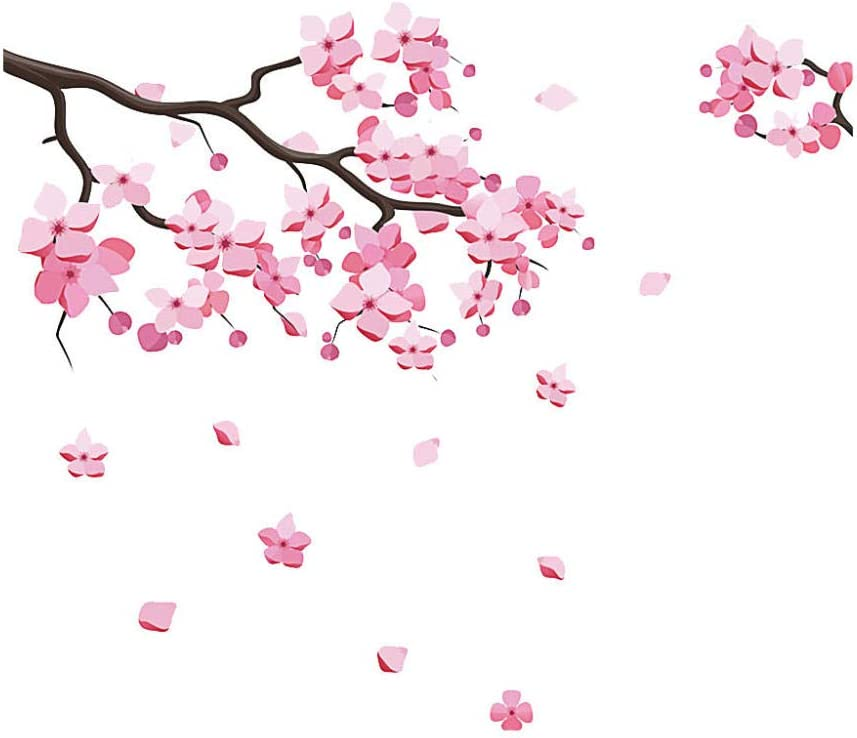 QMSM Pink Removable Peach Plum Cherry Blossom Flower Butterfly Art Decal Wall Home 3D Sticker Room Decor Graphic Flowers Petals Tree