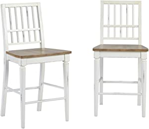 Progressive Furniture Shutters Counter Chair (2/Ctn), Light Oak/Distressed White