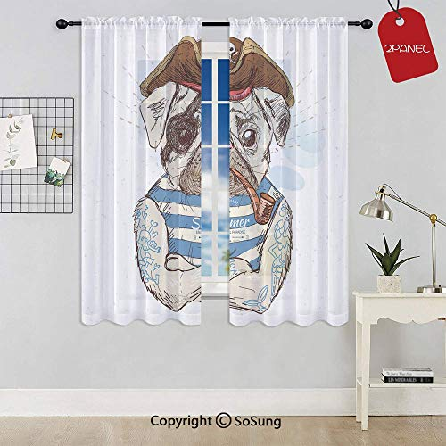 Pirate Pug Conqueror of The Seas Pipe Skulls and Bones Hat Striped Sleeveless T Shirt Decorative Rod Pocket Sheer Voile Window Curtain Panels for Kids Room,Kitchen,Living Room & Bedroom,2 Panels,Each