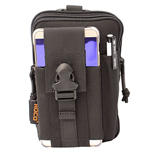 Compact Tactical Molle EDC Pouch Utility Gadget Belt Waist Bag with Cell Phone Holster Holder for Iphone 6 Plus, 1000D Nylon (Black) by ROCOTACTICAL