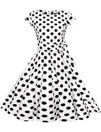 Spring Summer Women Vintage Hepburn Style Lemon & Dots & Cherry & Rose Print Beam Waist