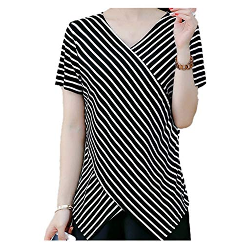 JOFOW Women's Casual Long Sleeve Stripe Patchwork Shirt Blouse Tops Black from JOFOW