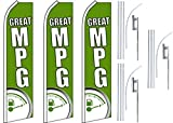 3 Swooper Flutter Feather Flags plus 3 Poles & Ground Spikes GREAT MPG Gas Meter Green White