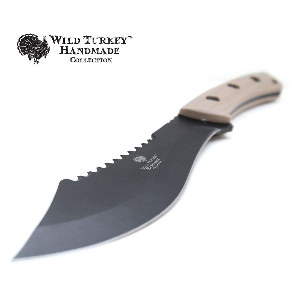 Wild Turkey Handmade 12 Heavy Duty Full Tang Fixed Blade Hunting Knife w Nylon Sheath
