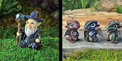 Bundle of 4 Fiddlehead Fairy Garden Miniature Items: A Wizard and 3 Assorted Baby Dragons