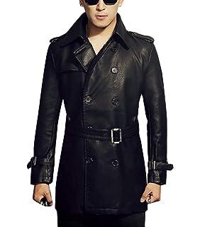 Uomo Cappotto Manica Lunga Giacca di Pelle PU Doppio Petto Slim Fit Trench  Coat 38361d89e5f