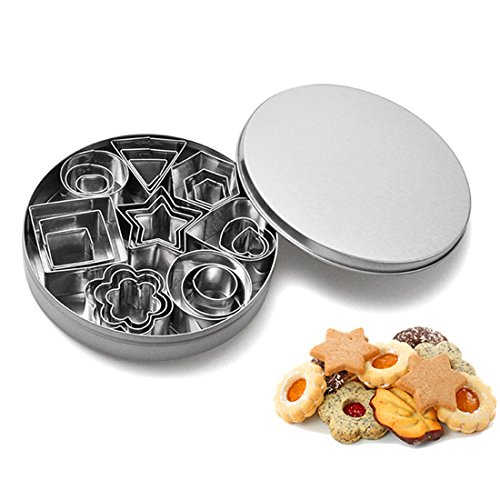Mini Cookie Cutters Set, Alotm 24 Pieces Stainless Steel Fondant Cutters - 3 Hearts Shape, 3 Stars Shape, 3 Flowers Shape and 15 Geometric Shape -
