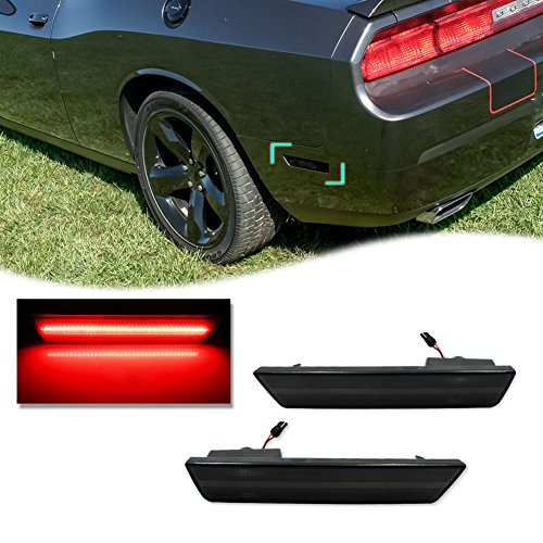 GTINTHEBOX 2PCS 3D Smoked Lens Red 36-SMD LED Rear Bumper Side Marker Lights Lamps Replacement Kit For 2008-2014 Dodge Challenger & 2011-2014 Dodge Charger