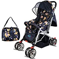 BabyGo Baby's Delight Reversible Stroller and Pram with Mosquito Net, Mama Diaper Bag and Wheel Breaks (Teddy Bear)