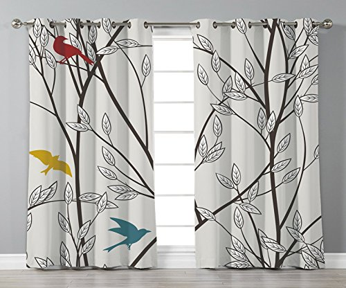 Thermal Insulated Blackout Grommet Window Curtains,Nature,Birds Wildlife Cartoon Like Image with Tree Leaf Art Print,Grey Maroon Blue and Mustard Yellow,2 Panel Set Window Drapes,for Living Room Bedro from iPrint