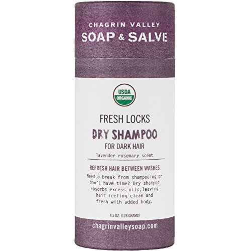 Organic Natural Dry Shampoo, For Dark Hair, Lavender Rosemary Scent, Chagrin Valley Soap & Salve