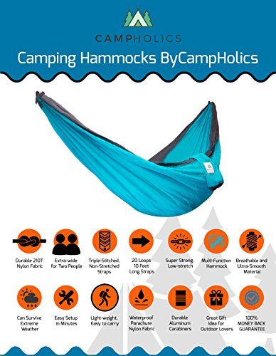 CampHolics Double Camping Hammock With Tree Straps – Camping Hammock Made Of Durable Parachute Nylon Lightweight, Compact And Portable Beach Mat For Backpacking