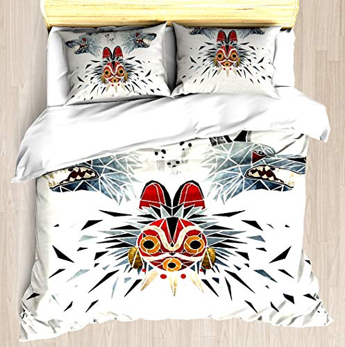 Mononoke Princess - Duvet Cover Set Soft Comforter Cover Pillowcase Bed Set Unique Printed Floral Pattern Design Duvet Covers Blanket Cover King/Cal King Size