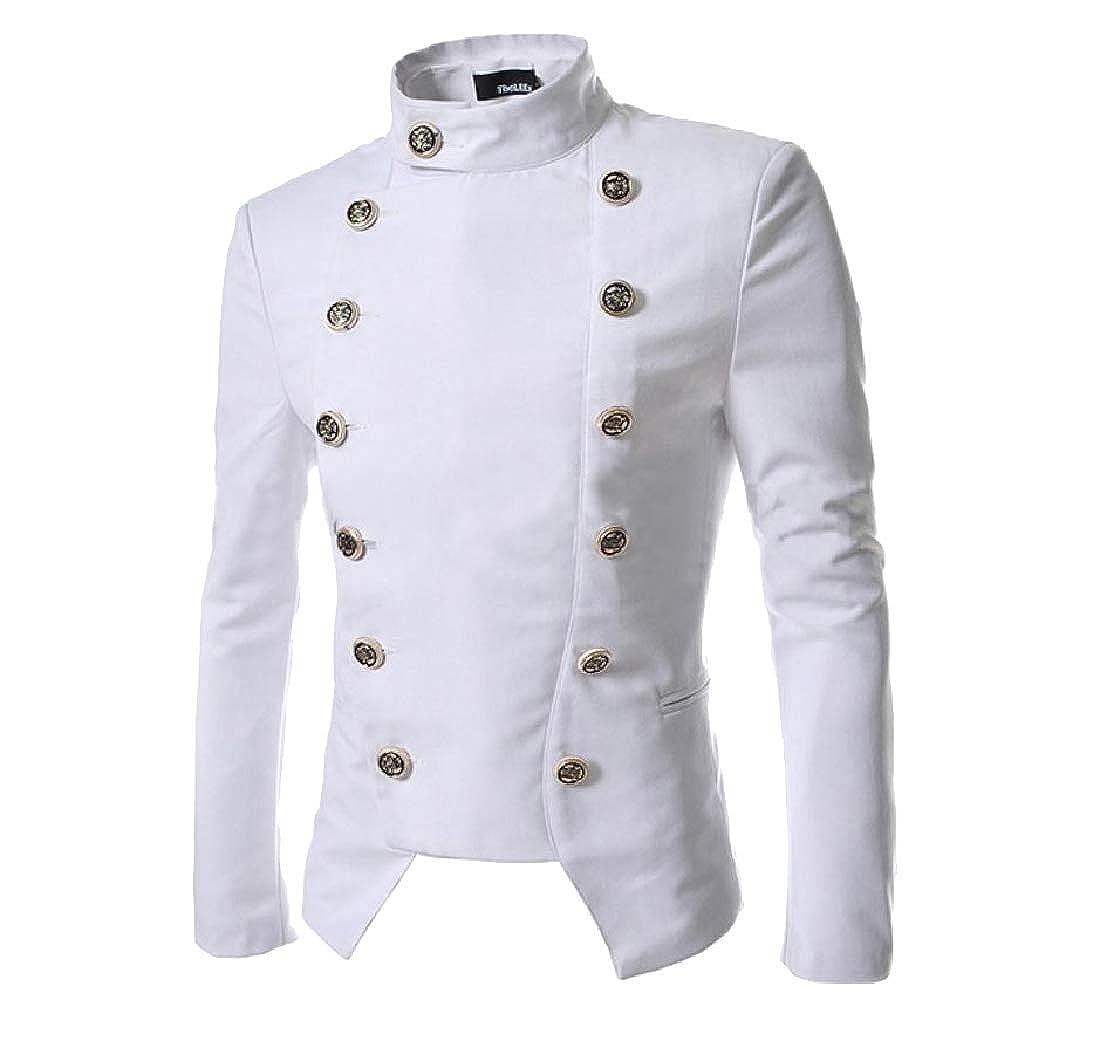 White Winwinus Men Coat Double-Breasted Double-Breasted Double-Breasted Slim Jacket Solid Asymmetric Small Blazer 3affe5