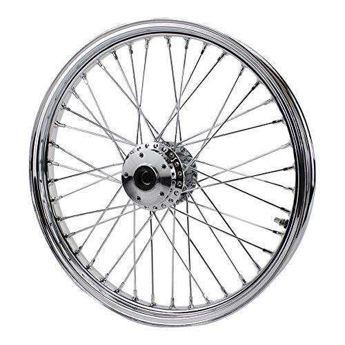 Chrome Front 40 Spoke Wheel 21''x 2.15'' (fits Harley FX,Sportster 1984-1999) Billet Hub by MOTO IRON