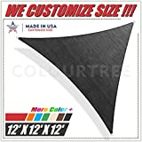 ColourTree 12' x 12' x12' Sun Shade Sail Triangle Black Canopy Awning Shelter Fabric Cloth Screen – UV & Water Resistant Heavy Duty Commercial Grade Outdoor Patio Carport (Custom Size Available)